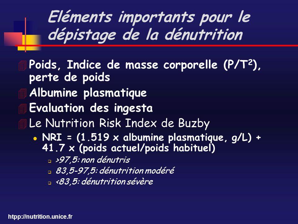 htpp://nutrition.unice.fr Eléments importants pour le dépistage de la dénutrition 4 Poids, Indice de masse corporelle (P/T 2 ), perte de poids 4 Album