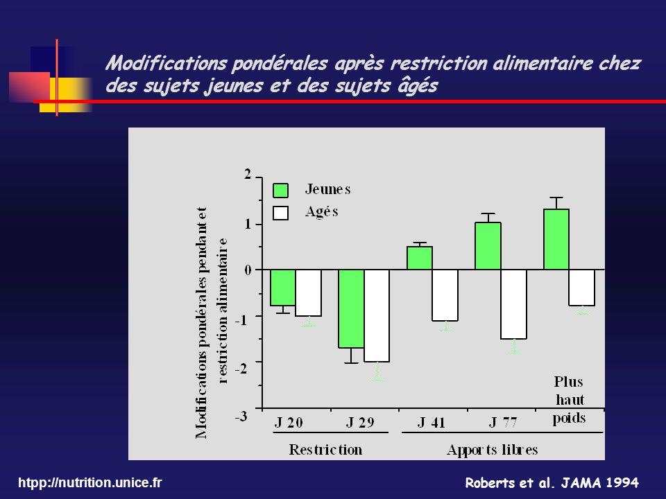 htpp://nutrition.unice.fr Modifications pondérales après restriction alimentaire chez des sujets jeunes et des sujets âgés Roberts et al. JAMA 1994