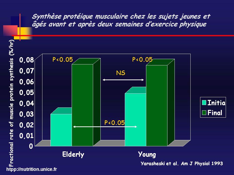 htpp://nutrition.unice.fr Synthèse protéique musculaire chez les sujets jeunes et âgés avant et après deux semaines dexercice physique P<0.05 Fraction