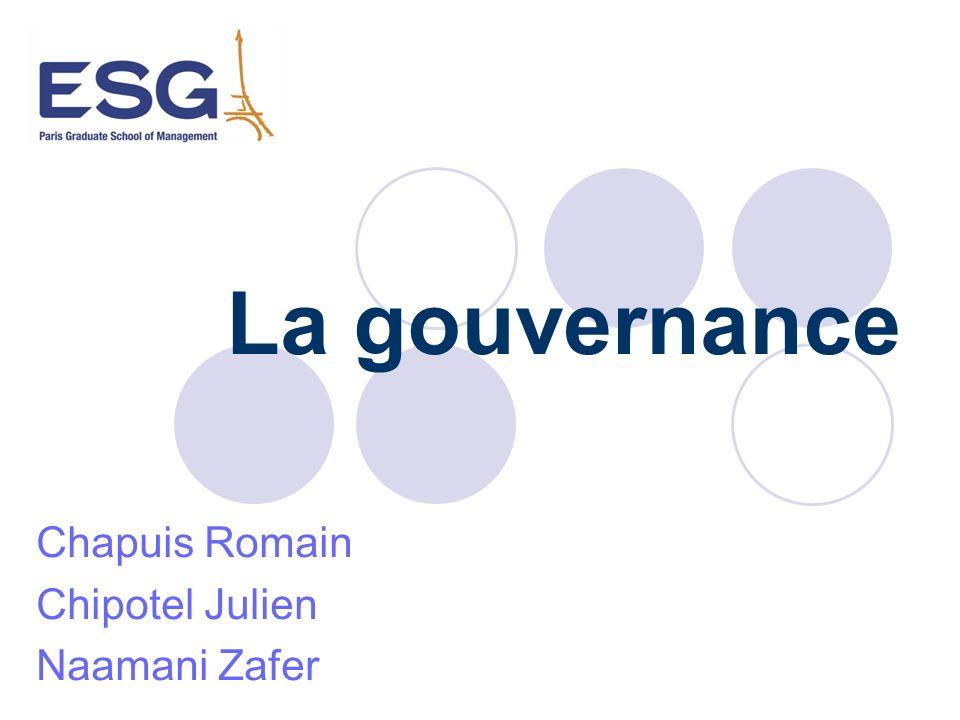 Limites Les raisons de la gouvernance Les contraintes Systèmes mis en place pour éviter les dysfonctionnements