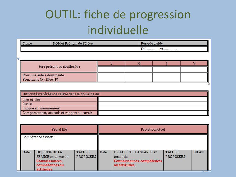 OUTIL: fiche de progression individuelle
