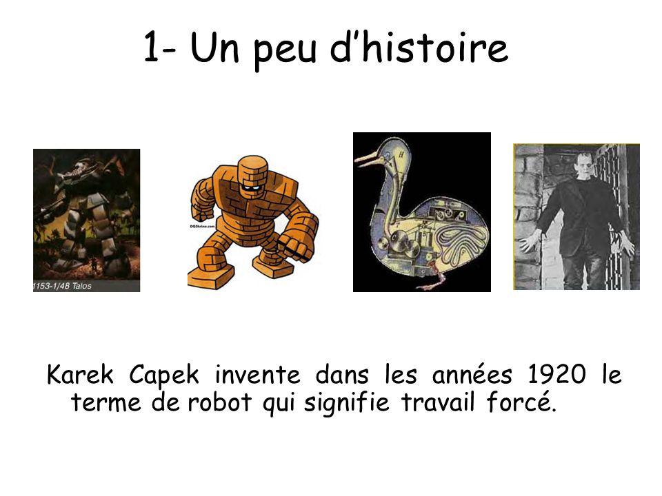 1- Un peu dhistoire Karek Capek invente dans les années 1920 le terme de robot qui signifie travail forcé.