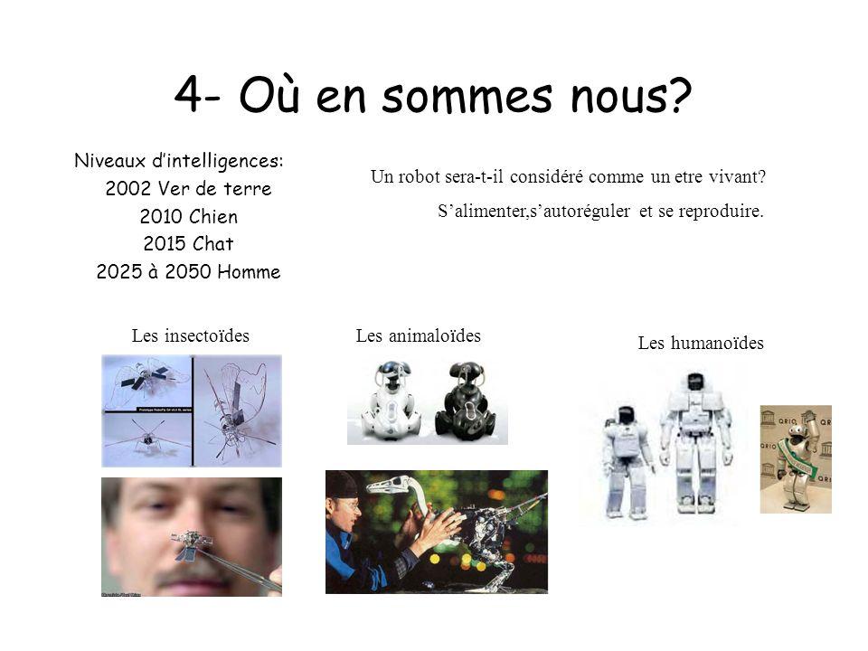 4- Où en sommes nous? Niveaux dintelligences: 2002 Ver de terre 2010 Chien 2015 Chat 2025 à 2050 Homme Un robot sera-t-il considéré comme un etre viva