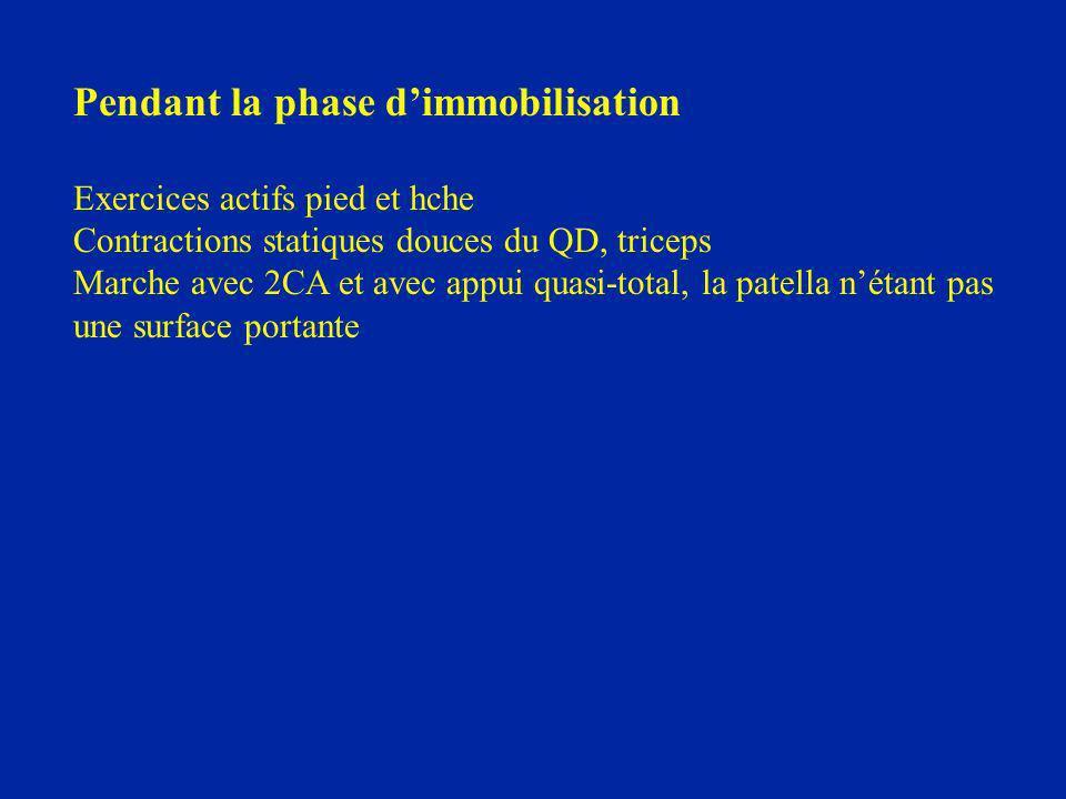 Pendant la phase dimmobilisation Exercices actifs pied et hche Contractions statiques douces du QD, triceps Marche avec 2CA et avec appui quasi-total,