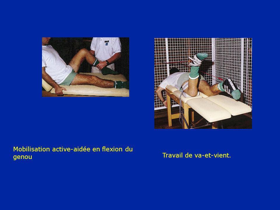 Mobilisation active-aidée en flexion du genou Travail de va-et-vient.