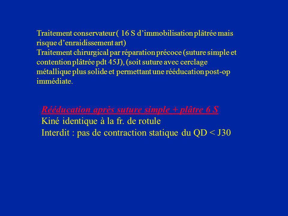Traitement conservateur ( 16 S dimmobilisation plâtrée mais risque denraidissement art) Traitement chirurgical par réparation précoce (suture simple e