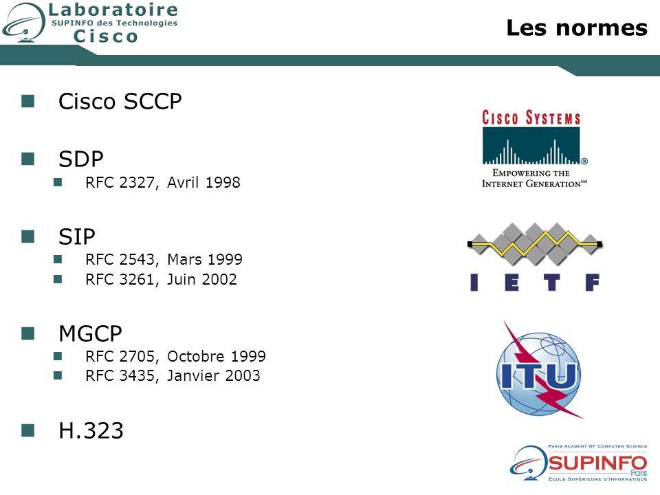 Les normes Cisco SCCP SDP RFC 2327, Avril 1998 SIP RFC 2543, Mars 1999 RFC 3261, Juin 2002 MGCP RFC 2705, Octobre 1999 RFC 3435, Janvier 2003 H.323