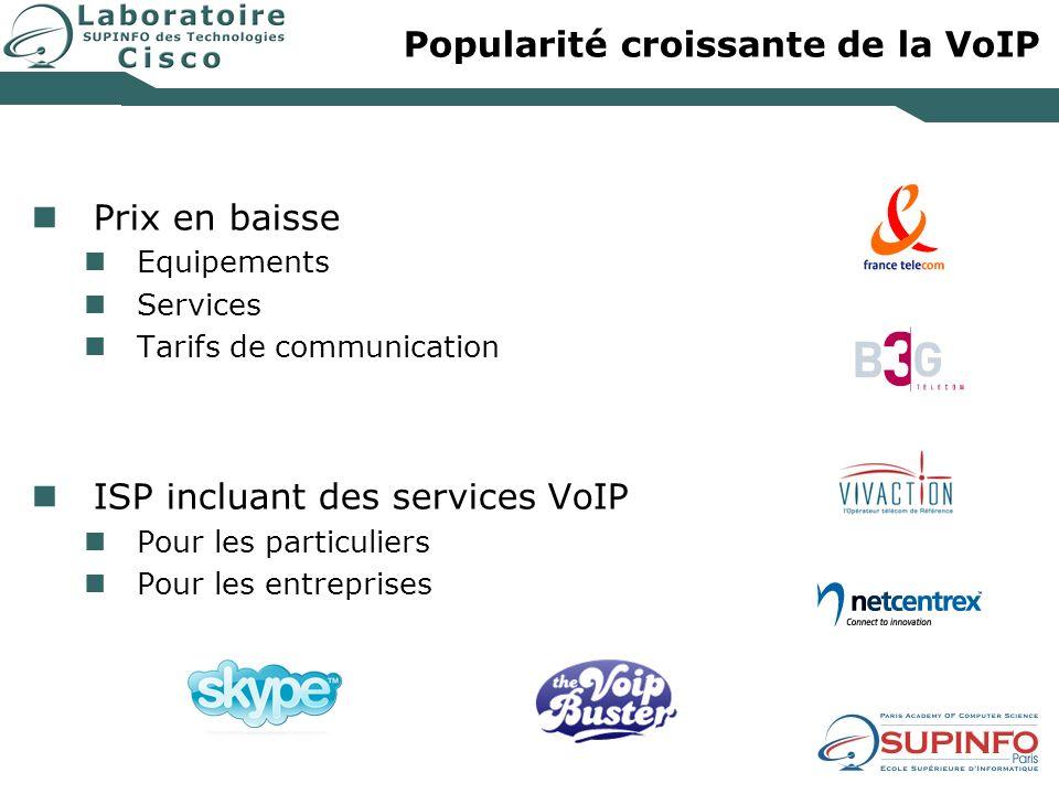 Popularité croissante de la VoIP Prix en baisse Equipements Services Tarifs de communication ISP incluant des services VoIP Pour les particuliers Pour