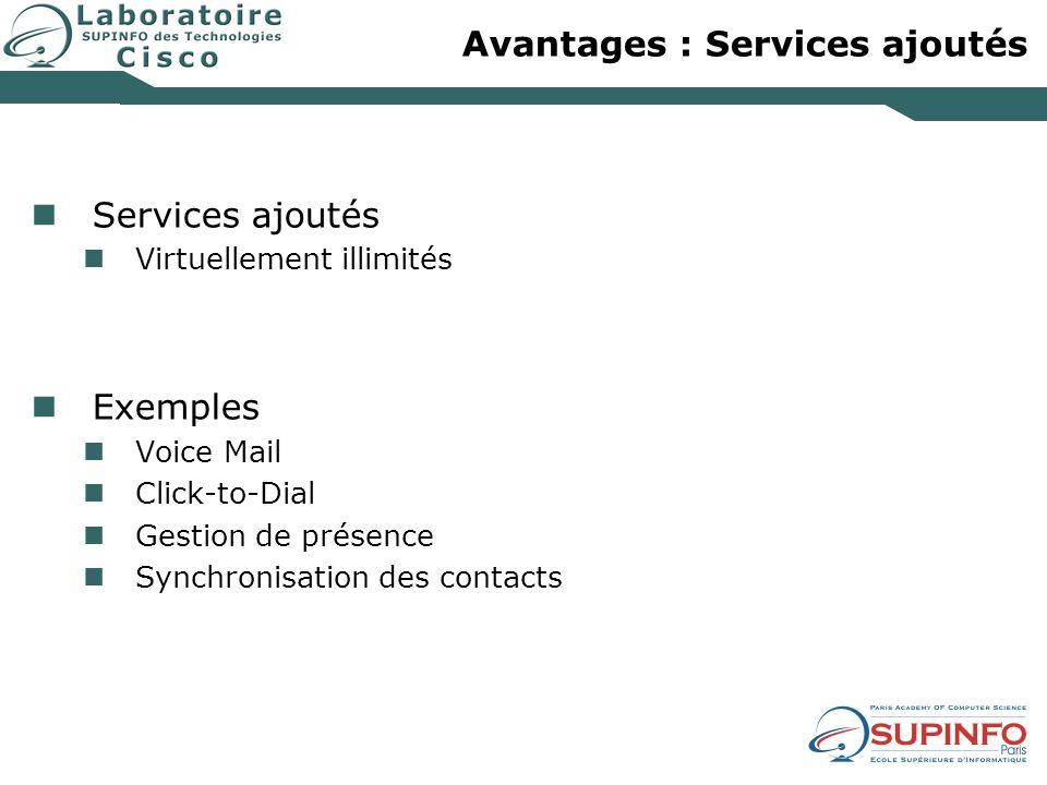 Avantages : Services ajoutés Services ajoutés Virtuellement illimités Exemples Voice Mail Click-to-Dial Gestion de présence Synchronisation des contac