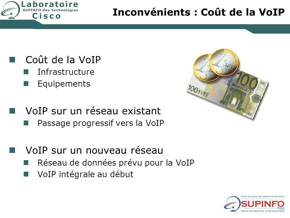 Inconvénients : Coût de la VoIP Coût de la VoIP Infrastructure Equipements VoIP sur un réseau existant Passage progressif vers la VoIP VoIP sur un nou