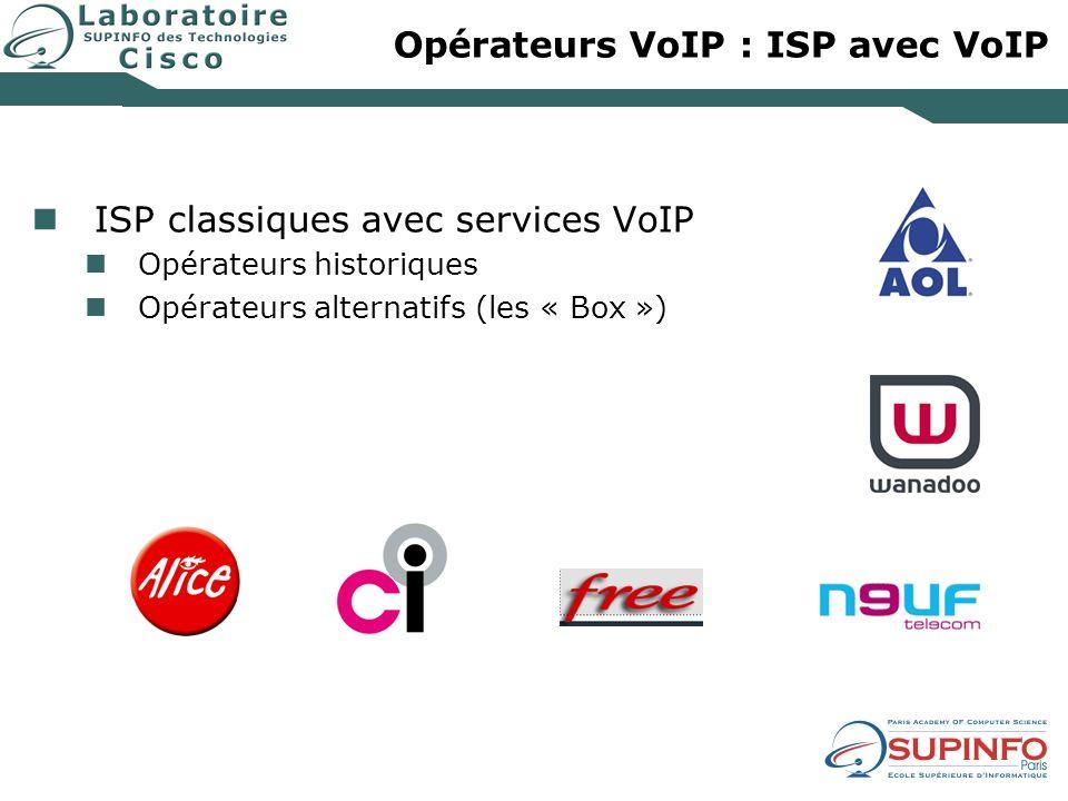 Opérateurs VoIP : ISP avec VoIP ISP classiques avec services VoIP Opérateurs historiques Opérateurs alternatifs (les « Box »)