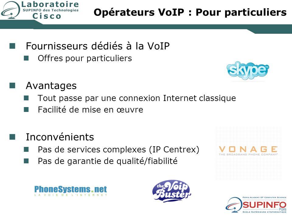 Opérateurs VoIP : Pour particuliers Fournisseurs dédiés à la VoIP Offres pour particuliers Avantages Tout passe par une connexion Internet classique F