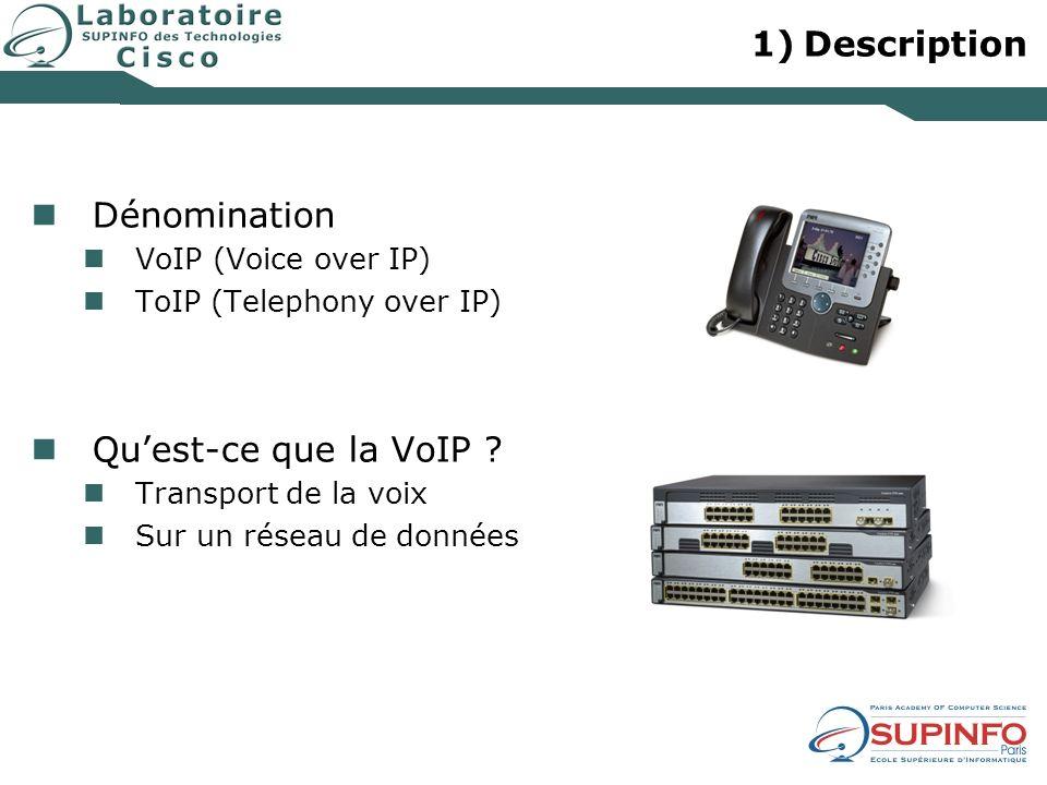 1)Description Dénomination VoIP (Voice over IP) ToIP (Telephony over IP) Quest-ce que la VoIP ? Transport de la voix Sur un réseau de données