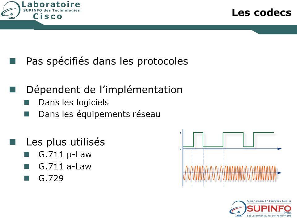 Les codecs Pas spécifiés dans les protocoles Dépendent de limplémentation Dans les logiciels Dans les équipements réseau Les plus utilisés G.711 µ-Law