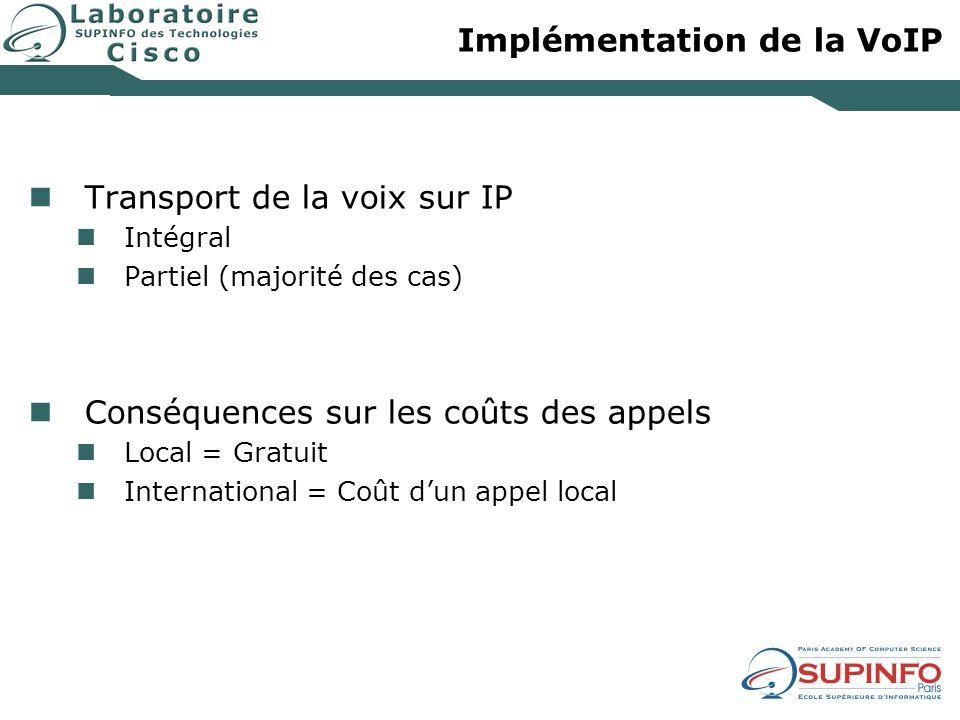 Implémentation de la VoIP Transport de la voix sur IP Intégral Partiel (majorité des cas) Conséquences sur les coûts des appels Local = Gratuit Intern