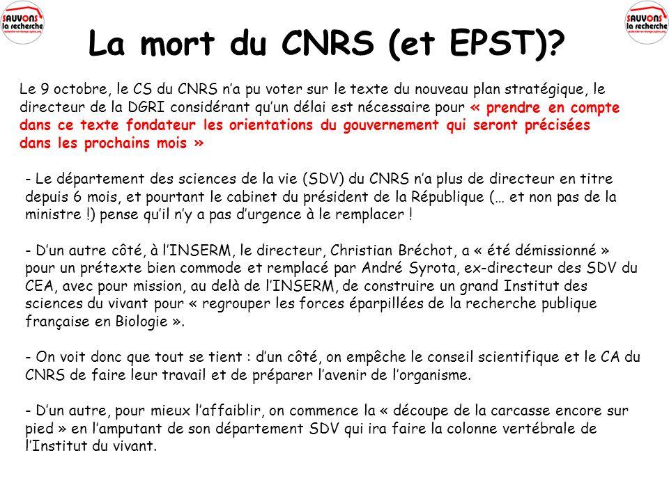 La mort du CNRS (et EPST).