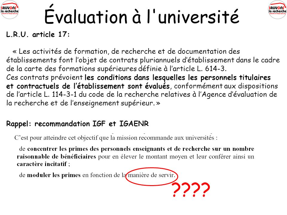 Évaluation à l université L.R.U.