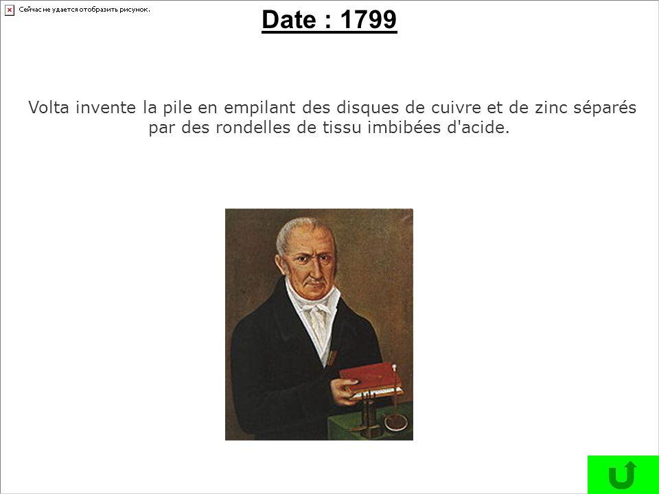 Volta invente la pile en empilant des disques de cuivre et de zinc séparés par des rondelles de tissu imbibées d'acide. Date : 1799
