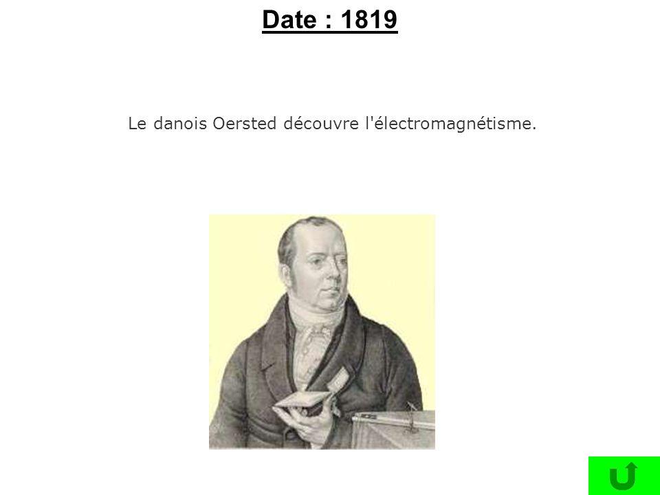 Le danois Oersted découvre l'électromagnétisme. Date : 1819