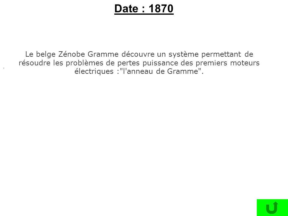 . Le belge Zénobe Gramme découvre un système permettant de résoudre les problèmes de pertes puissance des premiers moteurs électriques :