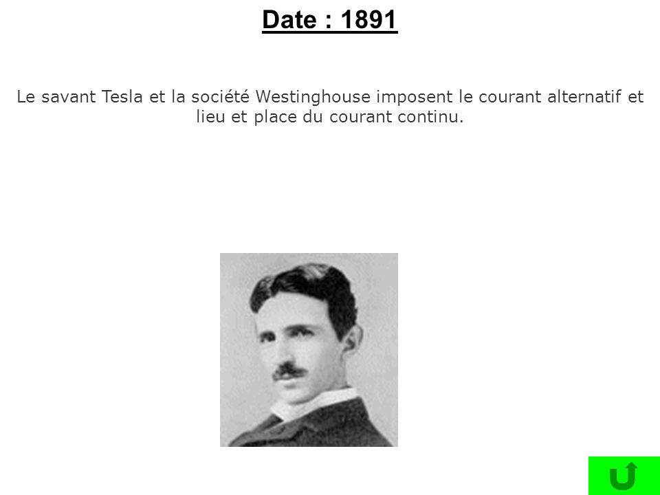 Le savant Tesla et la société Westinghouse imposent le courant alternatif et lieu et place du courant continu. Date : 1891