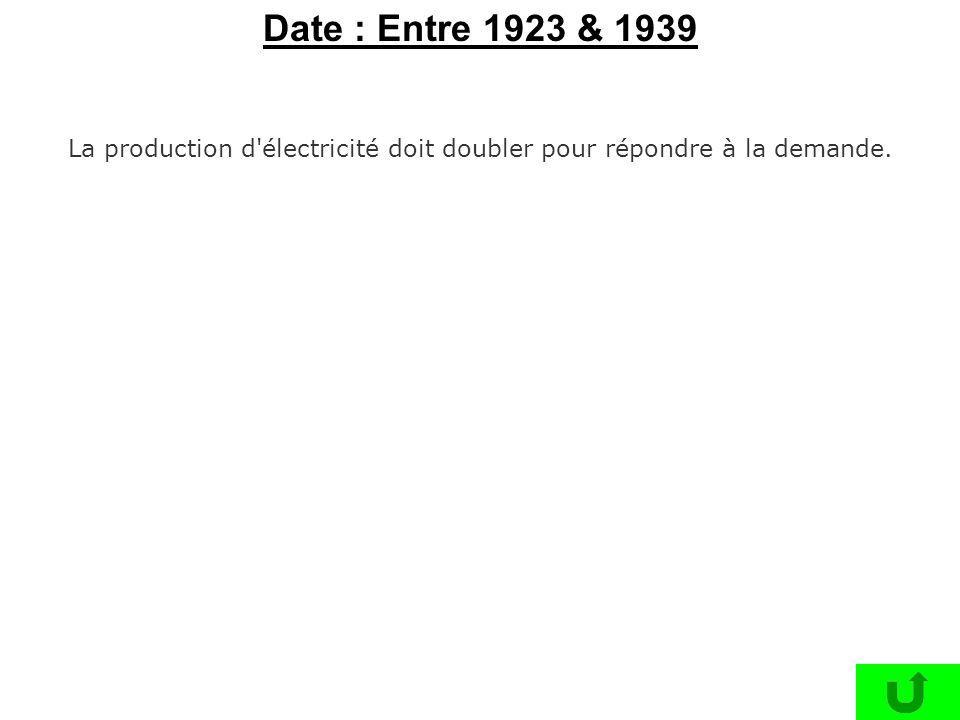 La production d'électricité doit doubler pour répondre à la demande. Date : Entre 1923 & 1939