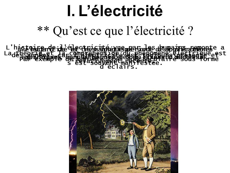I.Lélectricité L'histoire de l'électricité vue par les humains remonte a des années, car l'électricité est toujours présente et s'est souvent manifest