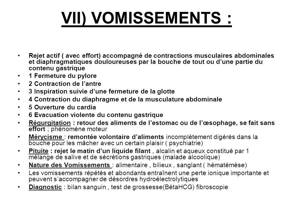 VII) VOMISSEMENTS : Rejet actif ( avec effort) accompagné de contractions musculaires abdominales et diaphragmatiques douloureuses par la bouche de to