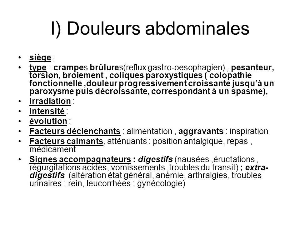 I) Douleurs abdominales siège : type : crampes brûlures(reflux gastro-oesophagien), pesanteur, torsion, broiement, coliques paroxystiques ( colopathie