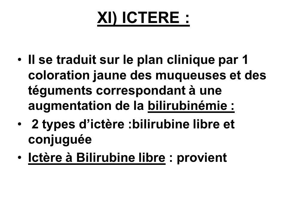 XI) ICTERE : Il se traduit sur le plan clinique par 1 coloration jaune des muqueuses et des téguments correspondant à une augmentation de la bilirubin