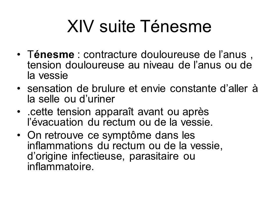 XIV suite Ténesme Ténesme : contracture douloureuse de lanus, tension douloureuse au niveau de lanus ou de la vessie sensation de brulure et envie con