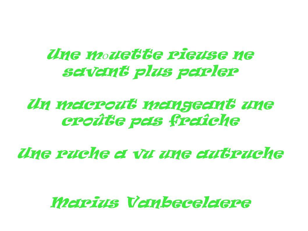 Une m o uette rieuse ne savant plus parler Un macrout mangeant une croûte pas fraîche Une ruche a vu une autruche Marius Vanbecelaere
