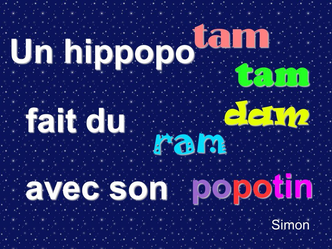 Un hippopo fait du avec son Simon tam tam ram dam popotin