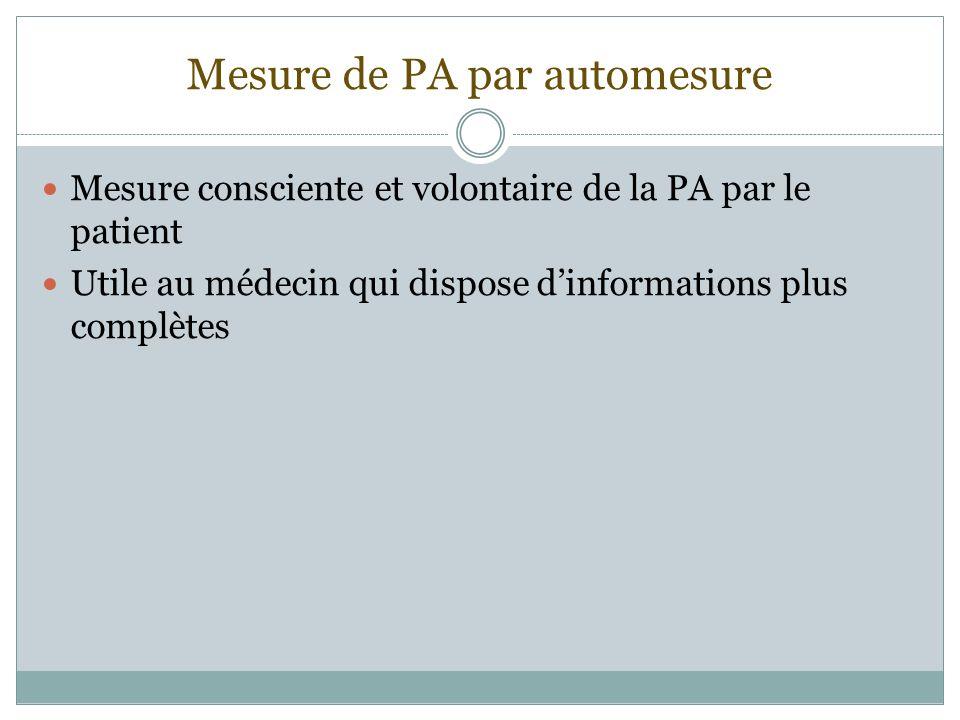 Mesure de PA par automesure Mesure consciente et volontaire de la PA par le patient Utile au médecin qui dispose dinformations plus complètes
