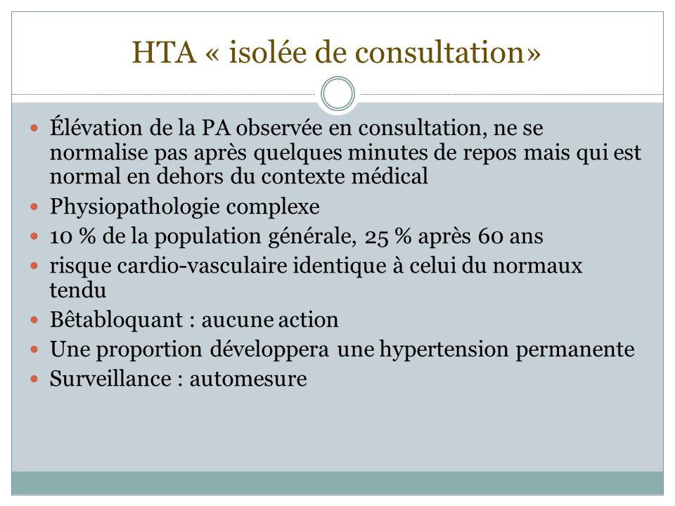 HTA « isolée de consultation» Élévation de la PA observée en consultation, ne se normalise pas après quelques minutes de repos mais qui est normal en