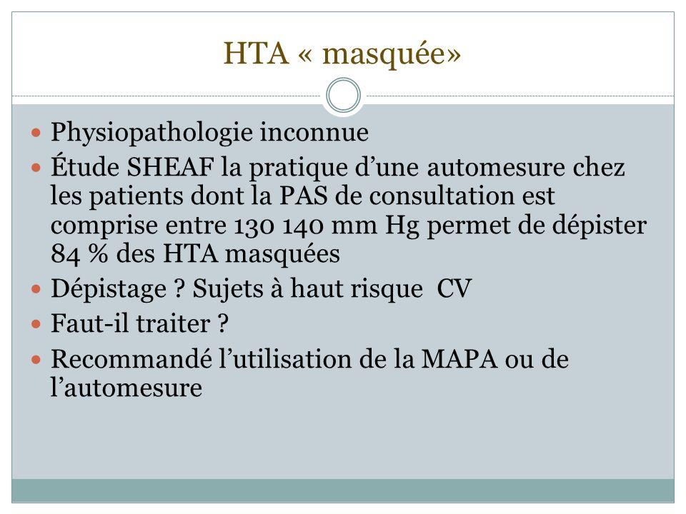 HTA « masquée» Physiopathologie inconnue Étude SHEAF la pratique dune automesure chez les patients dont la PAS de consultation est comprise entre 130