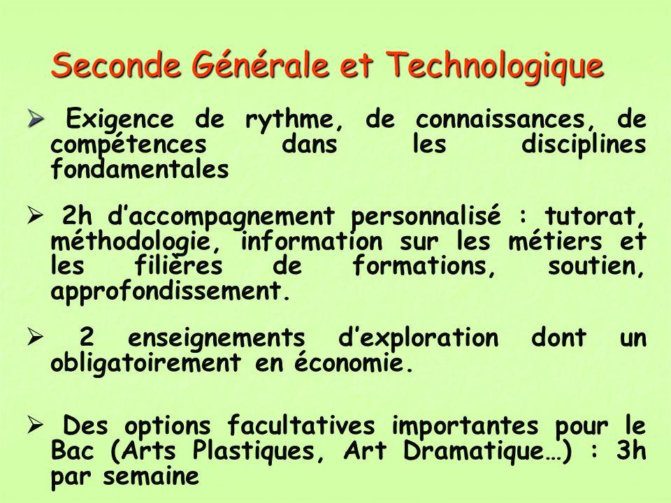 Seconde Générale et Technologique Exigence de rythme, de connaissances, de compétences dans les disciplines fondamentales 2h daccompagnement personnal