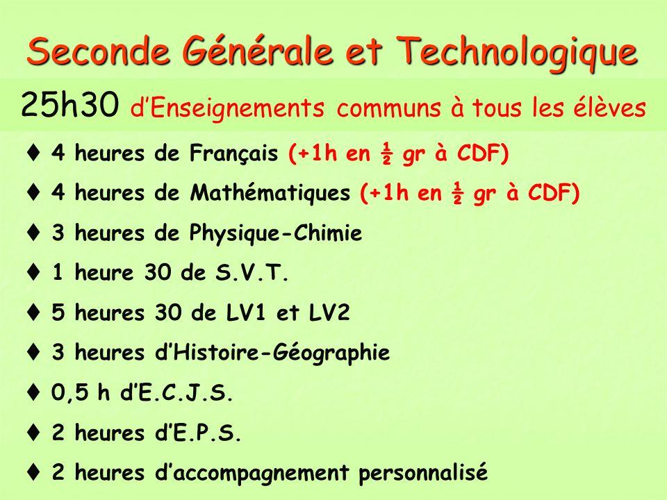 Seconde Générale et Technologique 4 heures de Français (+1h en ½ gr à CDF) 4 heures de Mathématiques (+1h en ½ gr à CDF) 3 heures de Physique-Chimie 1