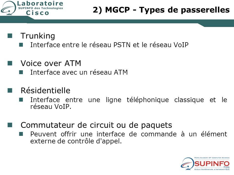 2) MGCP - Types de passerelles Trunking Interface entre le réseau PSTN et le réseau VoIP Voice over ATM Interface avec un réseau ATM Résidentielle Int