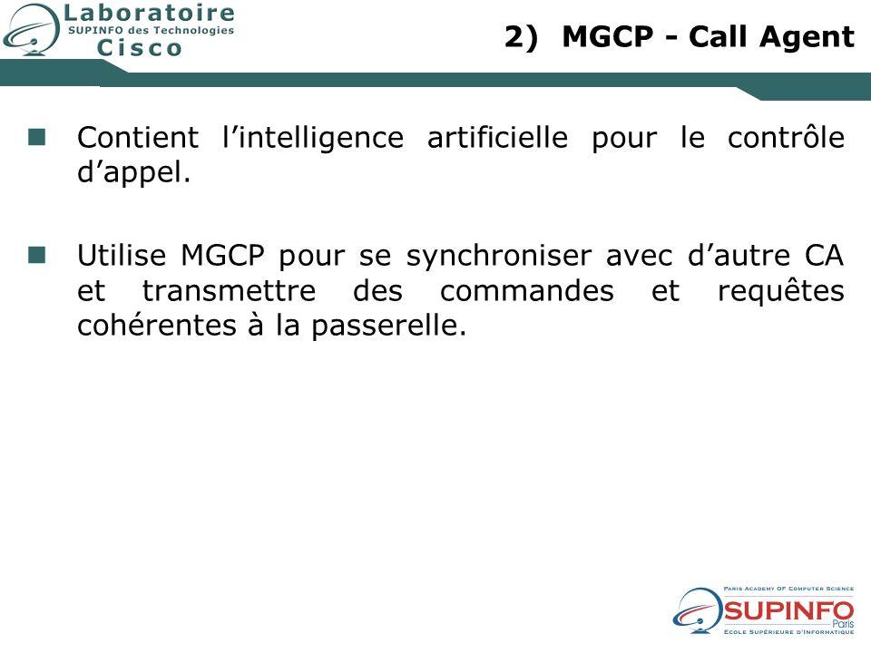 2)MGCP - Call Agent Contient lintelligence artificielle pour le contrôle dappel. Utilise MGCP pour se synchroniser avec dautre CA et transmettre des c