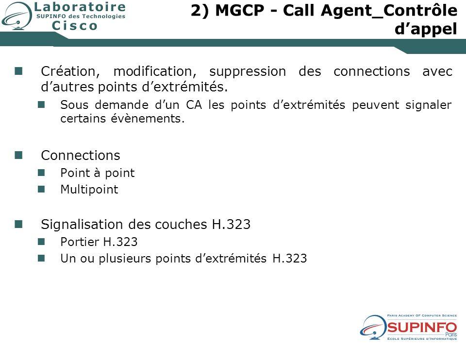 2) MGCP - Call Agent_Contrôle dappel Création, modification, suppression des connections avec dautres points dextrémités. Sous demande dun CA les poin