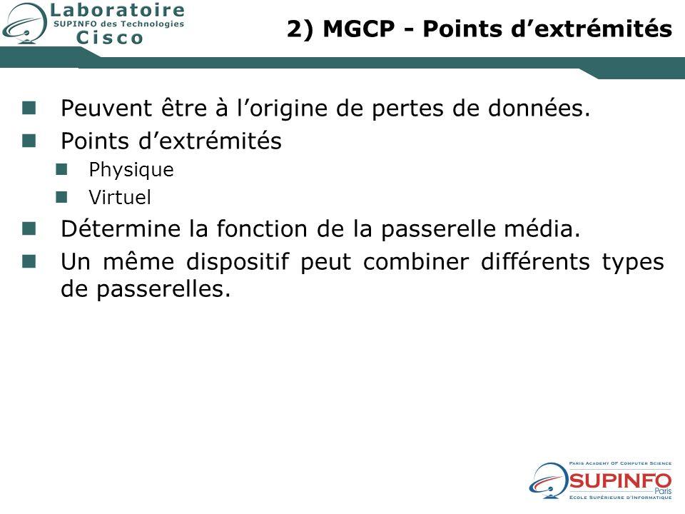 2) MGCP - Points dextrémités Peuvent être à lorigine de pertes de données. Points dextrémités Physique Virtuel Détermine la fonction de la passerelle