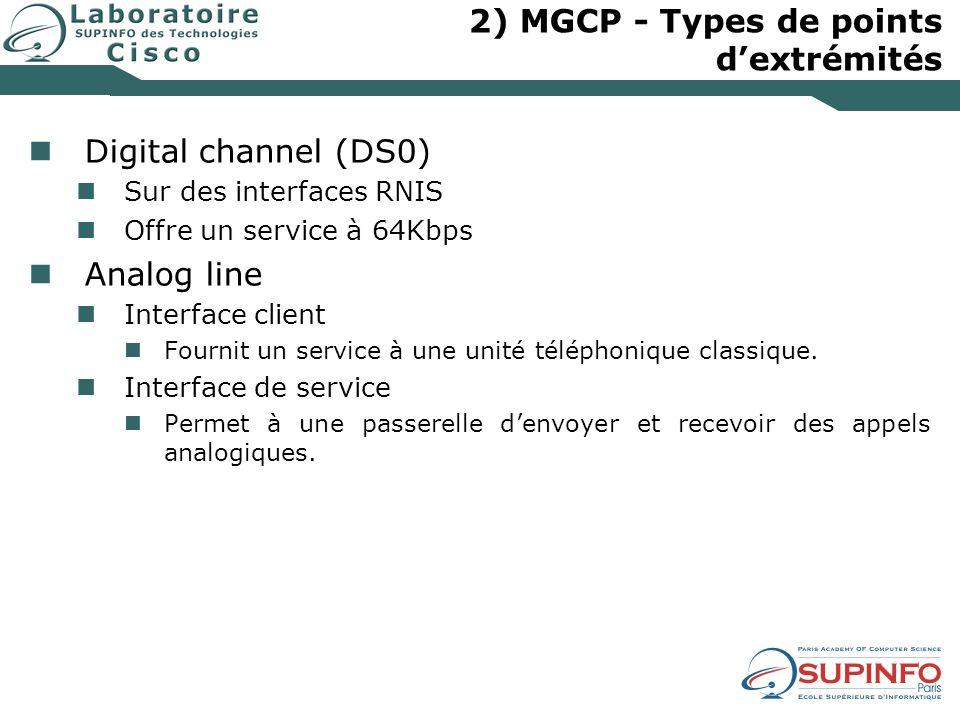 2) MGCP - Types de points dextrémités Digital channel (DS0) Sur des interfaces RNIS Offre un service à 64Kbps Analog line Interface client Fournit un