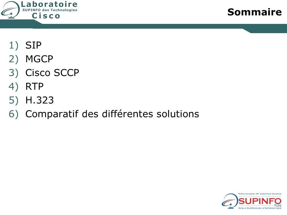 Sommaire 1)SIP 2)MGCP 3)Cisco SCCP 4)RTP 5)H.323 6)Comparatif des différentes solutions