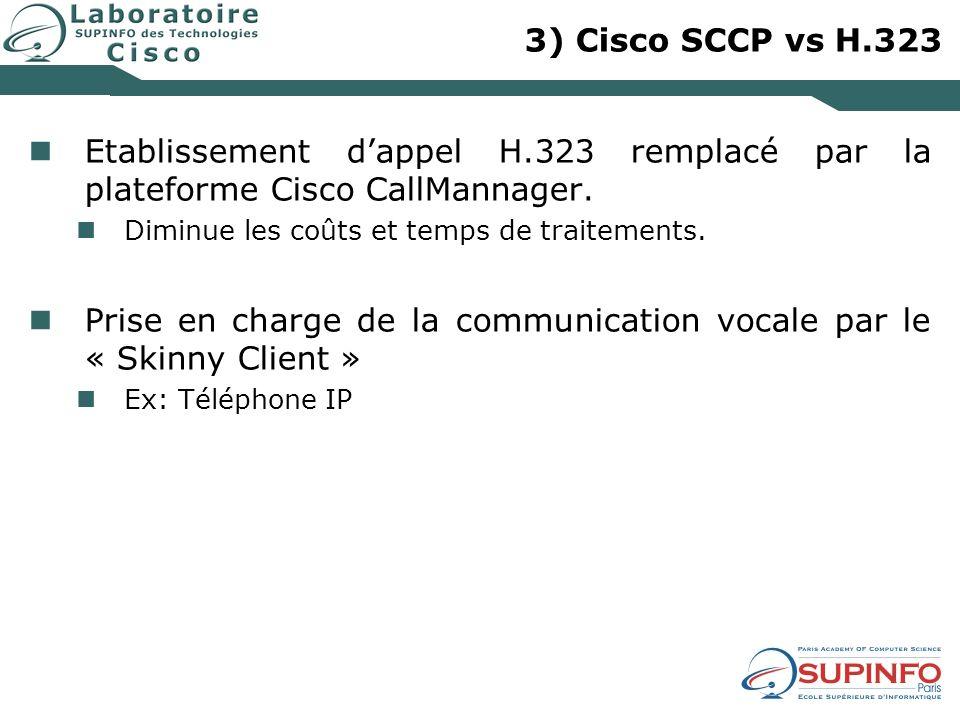 3) Cisco SCCP vs H.323 Etablissement dappel H.323 remplacé par la plateforme Cisco CallMannager. Diminue les coûts et temps de traitements. Prise en c
