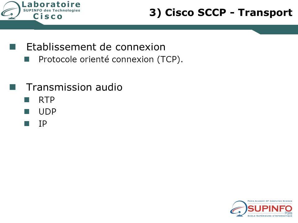 3) Cisco SCCP - Transport Etablissement de connexion Protocole orienté connexion (TCP). Transmission audio RTP UDP IP