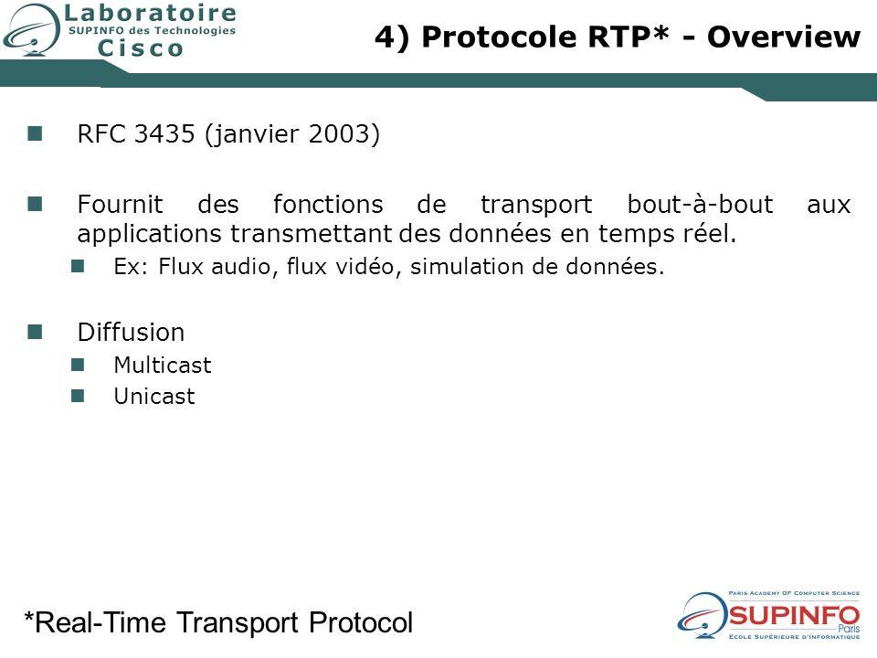 4) Protocole RTP* - Overview RFC 3435 (janvier 2003) Fournit des fonctions de transport bout-à-bout aux applications transmettant des données en temps