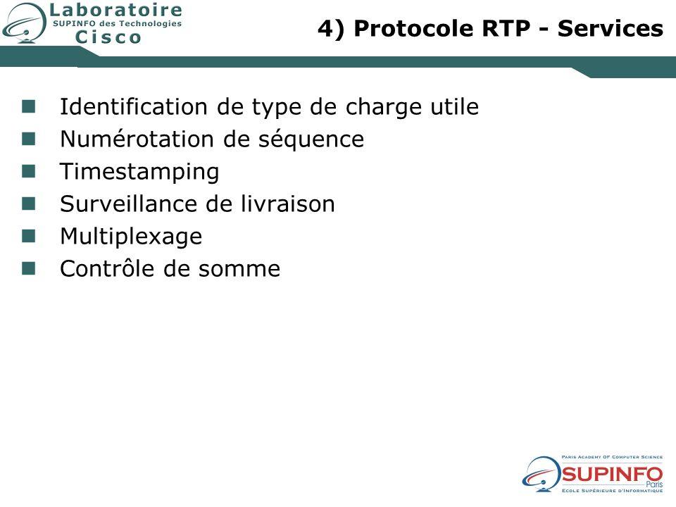 4) Protocole RTP - Services Identification de type de charge utile Numérotation de séquence Timestamping Surveillance de livraison Multiplexage Contrô