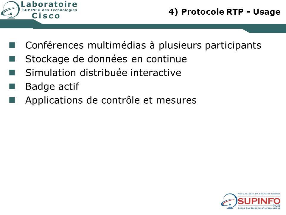 4) Protocole RTP - Usage Conférences multimédias à plusieurs participants Stockage de données en continue Simulation distribuée interactive Badge acti