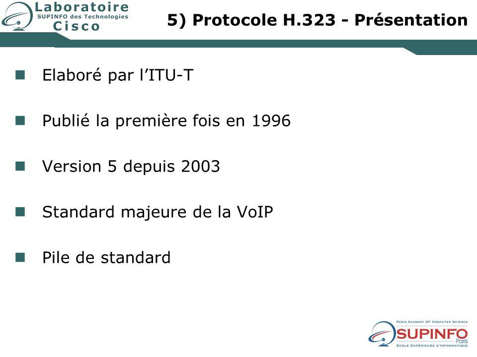 5) Protocole H.323 - Présentation Elaboré par lITU-T Publié la première fois en 1996 Version 5 depuis 2003 Standard majeure de la VoIP Pile de standar